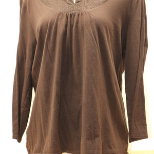 Faded Glory Tops - Brown Long Sleeve Scoop Neck Everyday Shirt XXL